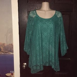 Teal Lace Layered Top size XL by Brittany Black